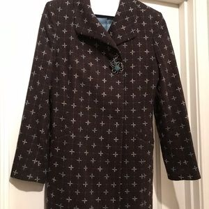 Caslon chocolate brown and teal long blazer coat